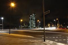 (dany.durwael) Tags: lightpainting night frankfurt brücke langzeitbelichtung ezb osthafen eurpäischezentralbank