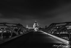 St pauls from Millennium bridge (ILSmith Photography) Tags: bridge london night exposure stpauls millennium blacknwhite