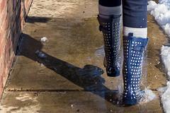 Splash! (Scriblerus) Tags: winter snow puddle legs memphis sidewalk splash wellies galoshes wellingtons galosh