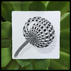 """Zentangle® Art : Weekly Challenge #208 DuoTangle Cubine & Poke Root : """"Reflections"""" (ha! designs) Tags: blackandwhite abstract art illustration pen pencil tile pattern drawing doodle tangle graphite 2015 pokeroot weeklychallenge zentangle hadesigns cubine hadesignszentangle divasweeklychallenge duotangle"""