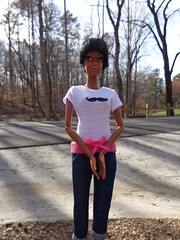 Mocksville (larry_boy17) Tags: street trees brown black nature hair outside outdoors model eyes doll dolls african ken barbie style tshirt muse jeans american short africanamerican mustache pivot fashionista exclusive aa articulated jointed capris pivotal barbiecollector