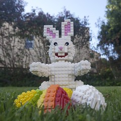 Easter Bunny and Eggs: Ground Level (Bill Ward's Brickpile) Tags: sculpture holiday rabbit bunny grass easter spring lego eggs