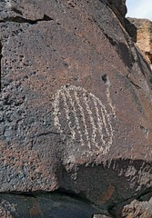 Petroglyph / Funeral Peak Site (Ron Wolf) Tags: california archaeology circle nationalpark nativeamerican petroglyph anthropology rockart parallellines deathvalleynationalpark sectionedcircle
