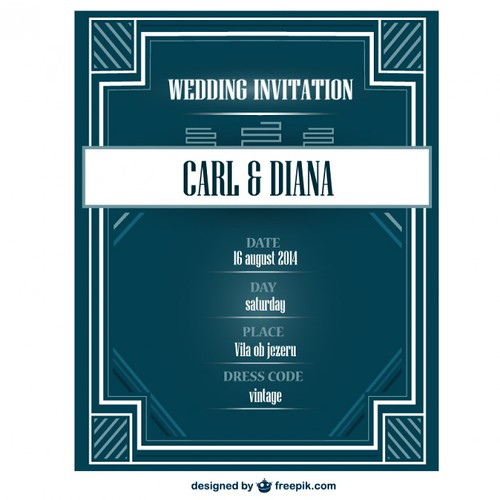 Art Deco Wedding Invitation Card Vector Illustration A