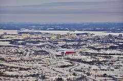 Somba Kay, Where the Money Is (evanlochem) Tags: city winter lake snow canada ice skyline forest bay march spring northwest outdoor great canadian shield territories slave boreal yellowknife