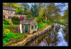 Boat House (Kevin Walker Digital Artist) Tags: bridge trees england building water beautiful architecture canal village historical towpath waterways saddleworth canon1855mm greatermanchester uppermill huddersfieldnarrowcanal kevinwalker canon1100d