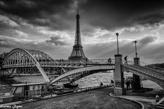 City of iron (karmajigme) Tags: city travel bridge blackandwhite paris france tower monochrome landscape nikon iron noiretblanc eiffeltower toureiffel