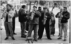 Street musicians, Madrid (mike.read44) Tags: madrid street music monochrome musicians outside accordion saxophone doublebass