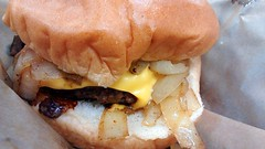 Highway 55 Cheeseburger. (dccradio) Tags: food cheese dinner lunch nc ketchup fastfood northcarolina eat cheeseburger snack hamburger meal slaw catsup roll supper bun andys coleslaw meltedcheese lumberton americancheese highway55 grilledonions robesoncounty