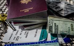 Travel (ericbeaume) Tags: travel money keys 50mm nikon traveller identity card dollar medicine 20 passport twenty passeport 18g d5100 ericbeaume