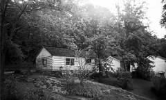 Indian Mission Schoolhouse (sarah_kay_gee) Tags: blackandwhite 35mm virginia bearmountain fujineopan amherstcounty pinkslimdress monacannation