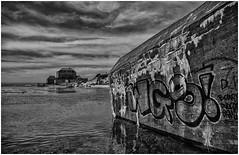 The Architecture of War (Eric@focus) Tags: sea bw france river concrete graffiti blackwhite war noiretblanc fort wwii bunker slack germans zw ambleteuse 1000v40f blackwhitephotos distinguishedblackandwhite