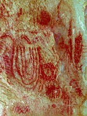 Old Woman Mountains Preserve, Painted Rock, Pictographs, D-stretch (darthjenni) Tags: rock stone native indian american petroglyph rockart pictograph chemehuevi