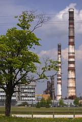 Industrial spring-3 (algimantas_tirlikas) Tags: chimney tree landscape spring may pipeline rafinery