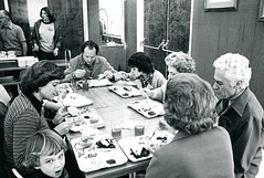 Eating in the Albion cafeteria (B) (PUC Special Collections) Tags: california coastal mendocino 1960s norcal 1970s biology tidepools puc albion estuaries mendocinocounty pacificunioncollege albionfieldstation albionbiologicalfieldstation pucbiologydepartment
