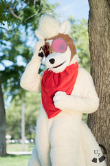 Ninetales at the Ready (UnsignedZero) Tags: california weather out lens outside outdoors outdoor sanjose sunny pokemon faceless downtownsanjose outsides pentaxsupertakumar50mmf14 backestopark cosplaytype