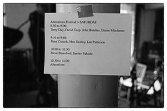 Alterations + John Butcher, Max Eastley, Satoko Fukuda, Elaine Mitchener, Lee Patterson @ Cafe Oto, London, 18th June 2016 (fabiolug) Tags: leica blackandwhite bw music london monochrome sign 35mm blackwhite concert live gig livemusic performance rangefinder summicron improvisation column improv monochrom sets biancoenero dalston lineup quartet davidtoop leica35mm johnbutcher leicam 35mmsummicronasph leicasummicron summicron35mmf2asph terryday 35mmf2summicronasph cafeoto summicronm35mmf2asph elainemitchener mmonochrom leicammonochrom leicamonochrom unpredictableseries alterationsfestival
