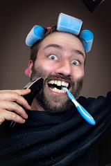 Getting ready (Bilderbastler) Tags: portrait face photoshop hair beard gesicht bart headshot frisur shaving ready getting curler toothbrush styling haare zahnbrste rasur lockenwickler nikond500