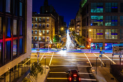 The High Line, NY (Arutemu) Tags: urban usa us unitedstates night nighttime nightscape nyc ny newyork newyorkcity nightshot nightfall nightstreet nightview manhattan metropolis manualfocus mirrorless highline voigtlander nokton 35mm f12