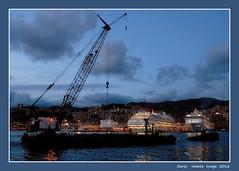 Twilight over the Genoa harbour - 3 (cienne45) Tags: carlonatale cienne45 natale genoa liguria italy harbour genoaharbour senset twilight boats crane ghesennu