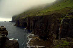 Seaside, Hvalba (JPE Photos) Tags: suuroy hvalba eidi fog sea green blue cliff water waterfall rock grass