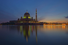 Morning in Putrajaya (Nadly Aizat) Tags: arabesque architecture asia asian attraction beautiful blue building city cloud culture design destination dome east eastern exterior famous interest islam islamic lake landmark malaysia modern mosque muslim nobody outdoors outside place religion religious roof sky structure style sunset traditional travel water worship
