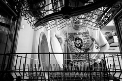Modern housework (gambajo) Tags: housework home domestic work clean household dish dishes dishwasher pov pointofview blackandwhite blackwhite man guy working diligent busy modern