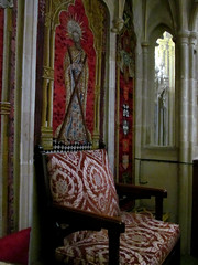 Wells Cathedral - throne (pefkosmad) Tags: uk england chair worship cathedral furniture embroidery seat wells somerset wellscathedral armchair bishop throne cathedra bishopofbathwells