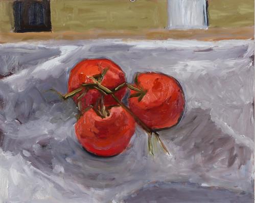 "Three Tomatoes - oil on board 12"" x 20"" $800"