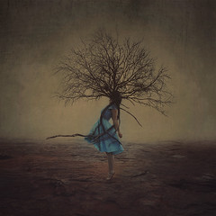 grow your imagination wild (brookeshaden) Tags: wild selfportrait painterly tree rock fog fairytale darkness transformation surrealism fineart imagination growing conceptual whimsical fineartphotography bluedress darkartphotography brookeshaden