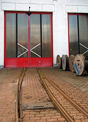 Lines to a cross (Harry -[ The Travel ]- Marmot) Tags: city travel urban travelling lines reisen europe track reis story workshop rails depot czechrepublic traveling february gauge narrow stad spoor reise sne travelogue lijnen reizen remise travelstory verhaal liberec 2015 tsjechië treinreis werkplaats railtravel smalspoor nvbs ceskárepublika reisverslag lijnwerkplaats winterreis breedspoor beeldverslag httpwwwnvbscomexcursies bloginphotos olympusomdem5 lumixgvario1235f28 ©allrightsreservedcontactmebyflickrmail