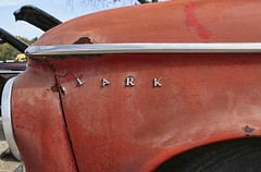 It's a Lark (~ Liberty Images) Tags: red detail classiccar vintagecar automobile rusty pumpkinrun chrome rusted weathered oldcar lark chromeography libertyimages
