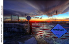 Tattletale, Vinemount Quarries - (HDR) (jwvraets) Tags: sunset storm sign nikon hamilton gimp opensource winona quarry hdr clearing luminance nikkor1224mm qtpfsgui d7100 rawtherapee vinemountquarries