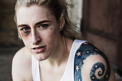 _T4G2459 (colorblindedphoto) Tags: tattoo model bra makeup location bruise wifebeater