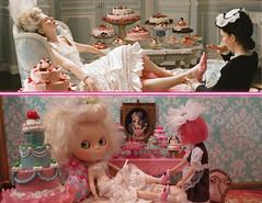Marie Antoinette... (Primrose Princess) Tags: pink paris france doll princess versailles blythe sofiacoppola pastries takara marieantoinette diorama dollhouse laduree blythedoll parisienne customblythe queenoffrance mohairreroot parischic marieantoinettemovie