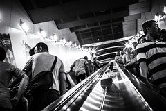 which_way (edhoss) Tags: street people bw white black photography chinatown escalator bnw