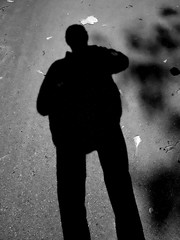 Shadow Man re-appears! (AR_the old guy) Tags: bw toronto ontario monochrome raw highpark highcontrast humour toned shadowman lr57 pa053189