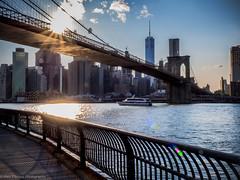 Brooklyn Bridge, NYC by Dusk (ravi_pardesi) Tags: nyc bridge sky sun newyork sunshine skyline architecture brooklyn evening downtown meditate dusk manhattan dumbo bridges bluesky serene meditation awesomeness skyscrapper freedomtower