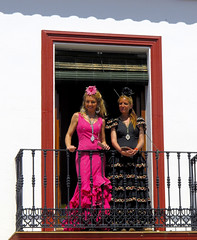 4718 (G de Tena) Tags: girls espaa woman girl canon europa g balcony religion huelva females mrs gypsy guapa mujeres balcon rocio g12 gitana rezar elrocio trajedegitana