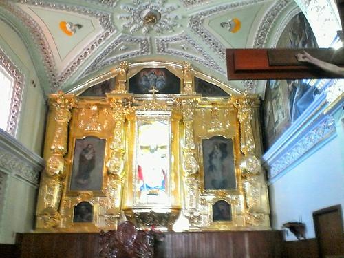Retablo del Altar Mayor, Templo de San Nicolás Zecalacoayan, San Lorenzo Chauzingo, Pue.