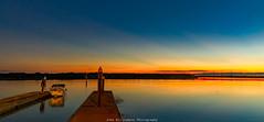 Going Fishing (johnwilliamson4) Tags: adelaide blue boat gardenisland landscape longexposure person portriver southaustralia sunrise water orange reflections australia