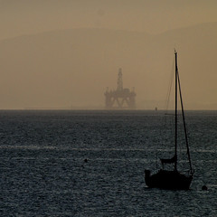 In the Haar (ccgd) Tags: evening scotland highlands sundown rig oil cromarty gloaming