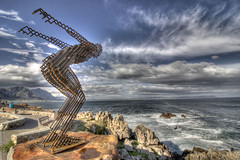 Diving into... (Arranion) Tags: ocean art 20d nature statue metal clouds canon eos rocks waves angle wide dive scenic wideangle stacking stm hdr 10mm