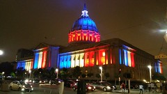 SF City Hall - For France (danieljsf) Tags: sanfrancisco cityhall civiccenter california nice france colors flagcolors forfrance solidarity