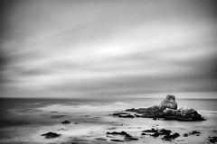 ano nuevo sea stack (hbphototeach) Tags: approved ano nuevo beach sea stack pacific ocean california bay area seascape black white long exposure clouds