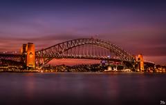 Sydney Harbour Bridge at Dusk (mark.iommi) Tags: bridge sunset reflections harbour dusk ngc sydney landmarks australia citylights sydneyharbourbridge geotaggedsydneyaustralia