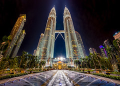 Petronas Towers, Kuala Lumpur (redsk82) Tags: petronastowers petronas tower towers malaysia cityscape skyscape skyscrapers nightscape landscape architecture buildings fountain night ultrawide wideangle wide