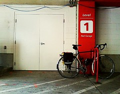 Level 1  {RED} (K.Chris ~AlwaYs LeaRning~) Tags: red bike bicycle number helmet parkinggarage transportation minimalism doors number1 one numbers level levels