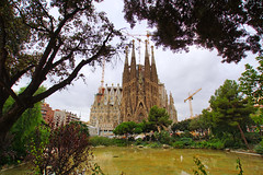 Sagrada Familia. View from Plaa de Gaud (Andrey Sulitskiy) Tags: spain barcelona gaudi sagradafamilia