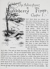 """Art by E. W. Kemble from """"Adventures of Huckleberry Finn"""" by Mark Twain. NY: Charles L. Webster & Co., 1885. First U.S. edition. (lhboudreau) Tags: illustration book etching drawing illustrations drawings books webster marktwain bookart 1885 hardcover etchings samuelclemens huckfinn kemble firstedition vintagebook huckleberryfinn chapter1 chapterheading hardcovers classicfiction charleswebster hardcoverbooks hardcoverbook adventuresofhuckleberryfinn classicstory charleslwebster classictale ewkemble firstamericanedition firstusedition charleslwebsterco charleslwebsterandcompany"""